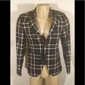 NWT Zara Man Size 38 Plaid Two Button Blazer